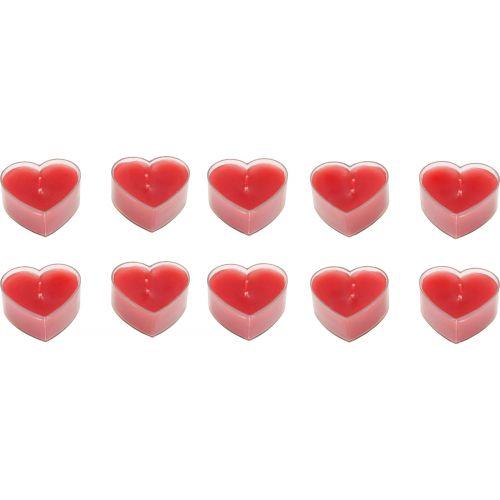 Velas con forma de corazón - 10 unidades