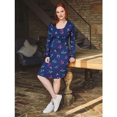 Vestido Premamá y Lactancia Azul Marino con estampado de flores