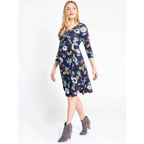 Vestido Premamá Cruzado con Lazo Estampado Navy Floral