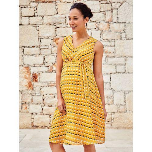 Vestido Premamá Amarillo Estampado Geo