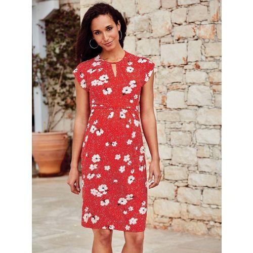 Vestido Premamá Rojo Floral - Manga Corta