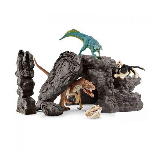 Set de dinosaurios con cueva de Schleich, colección Dinosaurs